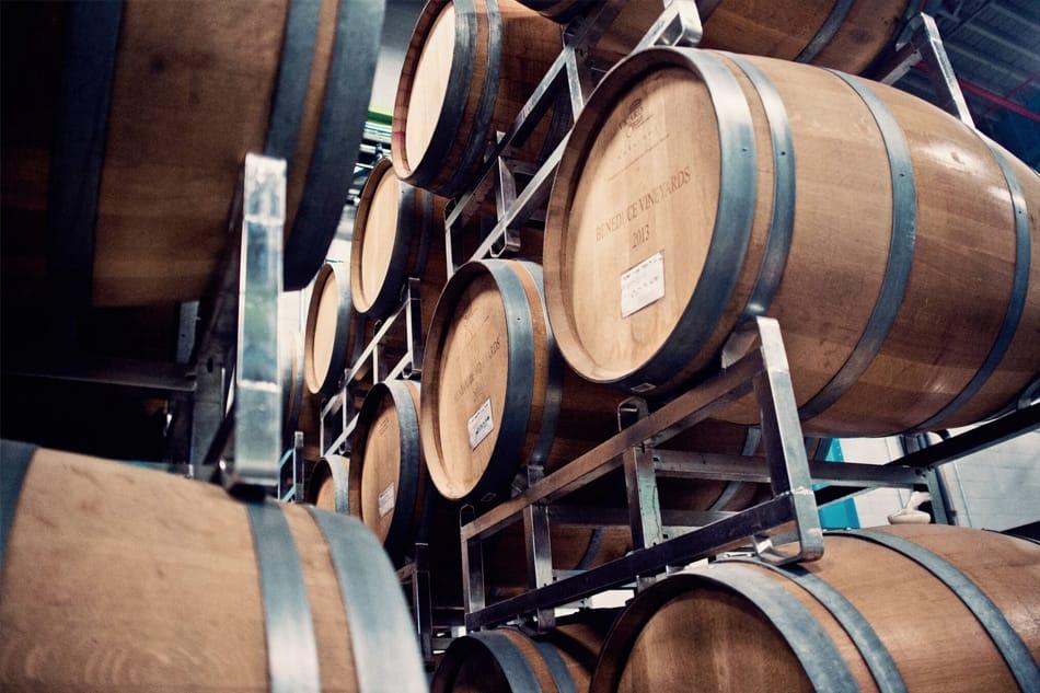 Wood barrels of beer