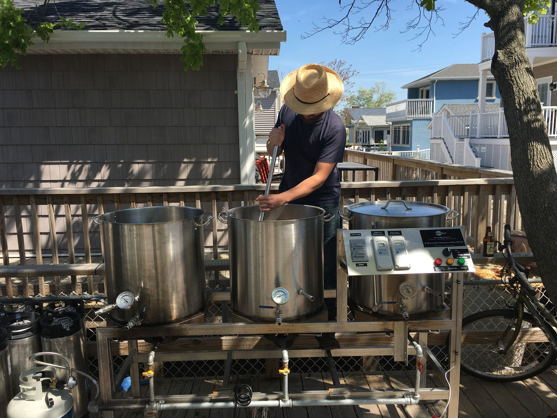 Beer being brewed outside