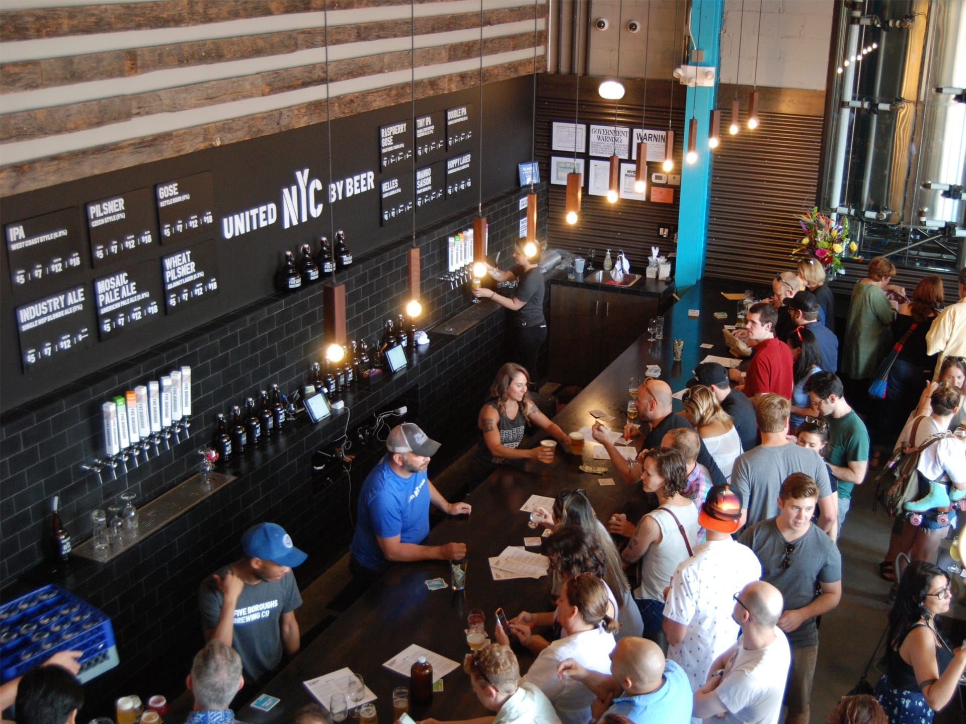 Aerial view of people at the brewery