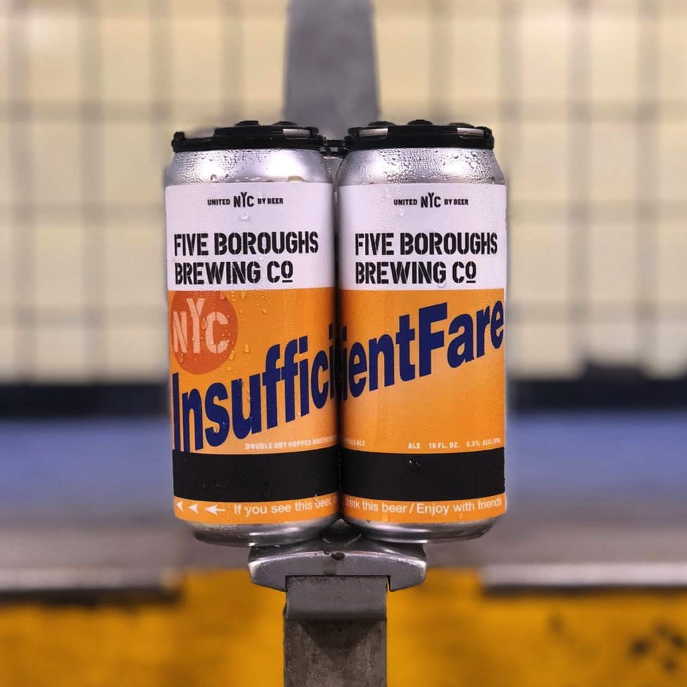 beer cans with metrocard label