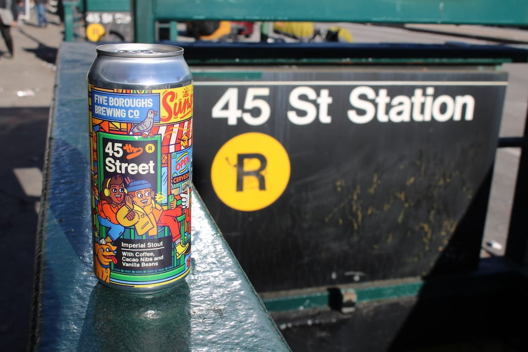 45th street beer in a can at the 45th street R subway station
